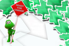 3d frog ready for change illustration Royalty Free Stock Image