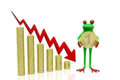 3D frog - recession concept. 3D frog and chart with downwards arrow - great for topics like recession, slump, crisis etc Royalty Free Stock Photo