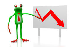 3D frog - recession concept. 3D frog and chart with downwards arrow - great for topics like recession, slump, crisis etc Royalty Free Stock Images