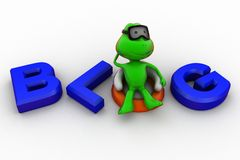 3d frog relaxing blog concept Royalty Free Stock Image