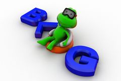 3d frog relaxing blog concept Stock Photo