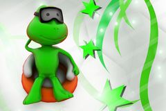 3d frog relaxing  illustration Stock Photography
