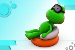 3d frog relaxing  illustration Royalty Free Stock Images