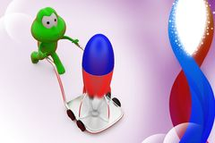3d frog rocket on hand truck illustration Stock Photos