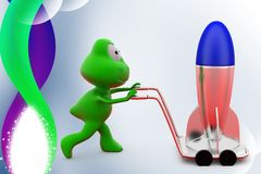 3d frog rocket on hand truck illustration Stock Photo