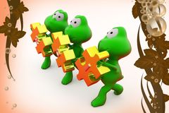 3d frog roi puzzle piece  illustration Royalty Free Stock Image