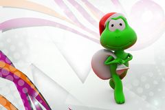 3d frog santa claus  illustration Royalty Free Stock Photography