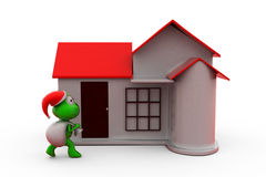 3d frog santa with home concept Stock Image