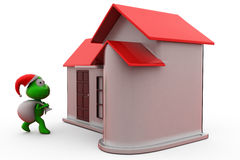 3d frog santa with home concept Royalty Free Stock Photos