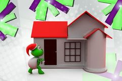 3d frog santa with home  illustration Royalty Free Stock Photo