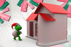 3d frog santa with home  illustration Stock Photos