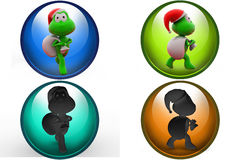 3d frog santa icon Royalty Free Stock Images