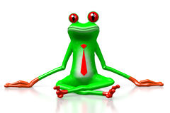 3D frog - sitting. 3D cartoon frog with tie sitting on a ground - great for topics like business, making money etc Royalty Free Stock Image