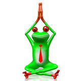 3D frog - sitting. 3D cartoon frog with tie sitting on a ground - great for topics like business, making money etc Stock Photography