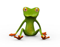 3d frog sitting on ground Royalty Free Stock Photos
