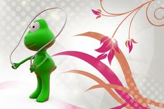 3d frog skipping  illustration Stock Photography