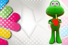 3d frog small video game illustration Royalty Free Stock Image