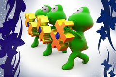 3d frog sos  illustration Stock Photography