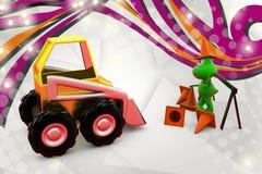 3d frog stop bulldozer  illustration Royalty Free Stock Photos