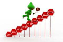 3d frog stop signs concept Stock Photography