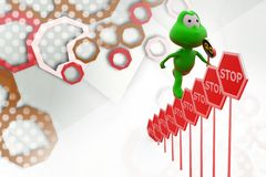 3d frog stop signs  illustration Royalty Free Stock Photo