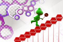3d frog stop signs  illustration Royalty Free Stock Image