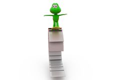 3d frog surf on paper concept Stock Photo