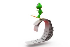 3d frog surf on paper concept Royalty Free Stock Image