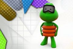 3d frog swim  illustration Stock Images