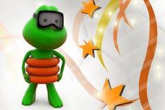 3d frog swim  illustration Royalty Free Stock Photo