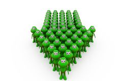 3d frog team arrow concept Royalty Free Stock Photos