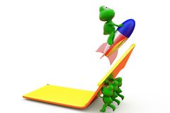 3d frog team push arrow concept Royalty Free Stock Images