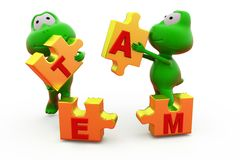 3d frog with team puzzle concept Royalty Free Stock Photography