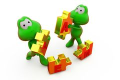 3d frog with team puzzle concept Royalty Free Stock Photos