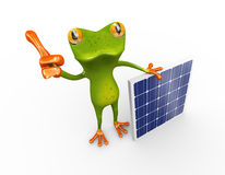 3d frog thumb up with solar panel Royalty Free Stock Images