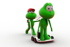 3d frog with toy key on hand truck concept Stock Photo