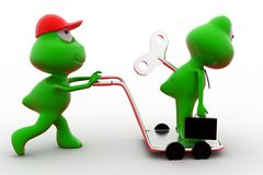 3d frog with toy key on hand truck concept Royalty Free Stock Photography
