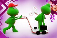 3d frog with toy key on hand truck  illustration Royalty Free Stock Photography