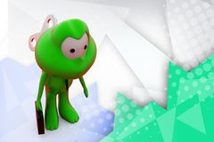 3d frog with toy key  illustration Royalty Free Stock Photo