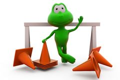 3d frog traffic cone concept Stock Photo