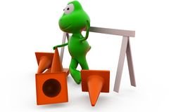 3d frog traffic cone concept Stock Photos