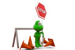 3d frog traffic cone concept Royalty Free Stock Photography