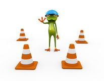 3d frog and traffic cones Royalty Free Stock Photography