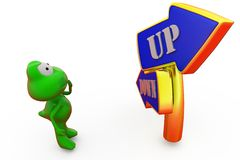 3d frog up down arrow concept Stock Photography