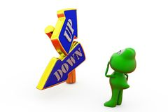 3d frog up down arrow concept Stock Images