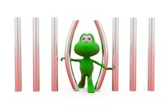 3d frog walk out from jail concept Stock Photography