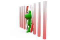 3d frog walk out from jail concept Royalty Free Stock Photography