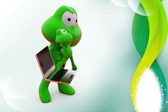 3d frog watch laptop success illustration Stock Photos