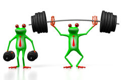 3D frog - weightlifting Stock Images
