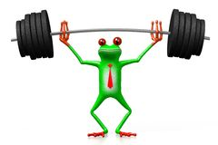 3D frog - weightlifting Royalty Free Stock Images